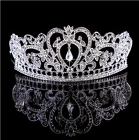 Wholesale Gown Crown - Baroque Bling Rhinestone Wedding Crowns Headband Headwear Diamond Jewelry Crystal 2017 Gold and Silver Party Bridal Accessories Gown