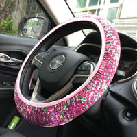 Wholesale Rose Wheels - 2017 Wholesale Shenzhen Fashion Neoprene Car Steering Wheel Cover Crown Coral Rose Free Size Neoprene Wheel Cover DOM604
