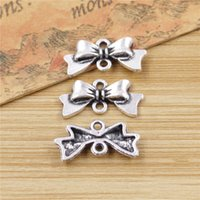 Wholesale Bow Pendant Make Bracelets - Wholesale- 30pcs bowknot bow Charms Fashion Pendants Bracelet Necklace Accessories Jewelry Making Handmade,Tibetan Silver Plated 20*9mm