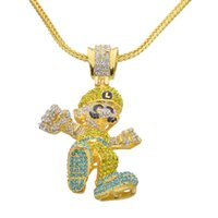 Wholesale Figaro Jewelry - Lage Size Cartoon Game pendant Hip hop Necklace Jewelry Bling Bling Iced Out N657