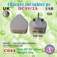 Wholesale Sanei Usb - Wholesale- 2pcs [C045] USB   5V,2A   UK power plug (United Kingdom Standard) Charger or Power adaptor for tablet pc;onda,ainol,cube,sanei