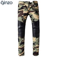 Wholesale Camouflage Pants For Men Skinny - Wholesale- Men's camouflage PU leather patchwork spliced biker jeans for moto Casual fashion pleated denim pants Long trousers