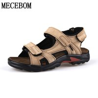 Wholesale Nubuck Cowhide Leather Shoes - Wholesale-New 2016 Brand Mens Sandals Slippers Genuine Leather Cowhide Sandals Outdoor Summer Casual Quality Leather shoes plus size 38-48