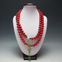 collar de coral de china al por mayor-China Coleccionables Trabajo hecho a mano Old Coral Turquesa Toyed Prayer Necklace Necklace