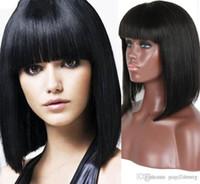 Wholesale Woman Beautiful Short Wigs - Hot Natural color Bob Lace Wigs Brazilian Human Hair Lace Front Wig 100% human hair Full Lace Wigs for beautiful women