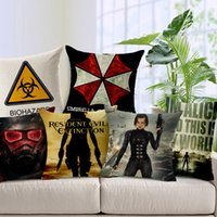 Wholesale Alice Resident Evil - 45*45cm Decorative Throw Pillow Cover Resident Evil Alice Umbrella Printing Cushion Cover Linen Cotton Pillow Case for Sofa capa de almofada