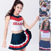 Wholesale Cosplay Sexy School Uniform - 2017 Sexy Nightclub Cosplay School Basketball Cheerleader Costume Cheer Girls Uniform Party Outfit Split Type Tops with Skirt for Sports