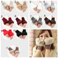 Wholesale Crochet Fingerless Gloves Wholesaler - Selling Wool Mixed Artificial Fur Ladies Unspecified Glove Knitted Crochet Winter Glove Warmer Evening Gloves YYA565