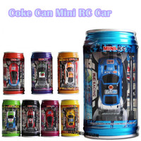 Wholesale Electric Toy Car Racing - Mixed Color Randomly Sent Coke Can RC Car Radio Remote Control Car Micro Racing Car Toy Road Blocks Kid Toys Gifts