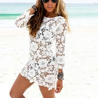 Wholesale hollow worked gowns - Wholesale- Hot Sales Women Lace Crochet Tassel Dresses Sexy Hollow Out Beach Dresses White
