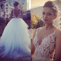 Wholesale sexy see through skirts resale online - Sexy Sheer Neck Wedding Dresses Lace Applique Pearls See Through Bridal Gowns Tulle Skirt Custom Wedding Dress