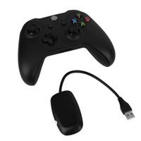 microsoft pc game controller toptan satış-Siyah 2.4 GHz Kablosuz Game Controller Joypad Gamepad Joystick Xbox One Microsoft PC Laptop Için Denetleyici Alıcı ile