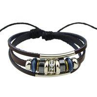 Wholesale Wrap Style Bracelets - New Pock Style Coffee Pu Leather with Metal Button Wrap Bracelets Bracelets for Women and Men