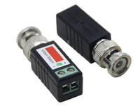 cctv için video balun toptan satış-Video Vericiler Mini CCTV Pasif Video Balun BNC Cat5 UTP Twisted