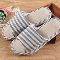 Wholesale Korean Linen Fabric Wholesale - Wholesale- Japanese Korean Style Household Linen Striped Skid Slippers Home Indoor Slipper Summer Men Women Shoes New Lover Floor Shoe