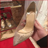 Wholesale 2017 spring summer Elegant styles women shoes Rhinestone high heels crystals pointed toe mesh Pumps woman red sole wedding shoes