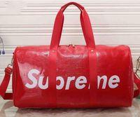 Wholesale Large Weekender Travel Bag - New designer brand fashion 55CM PU Leather carry on luggage weekender bag large capacity men travel duffel bag