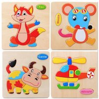 Wholesale High Quality Educational Wooden Toys - High quality Baby Kids Cartoon Animal Wooden Learning Geometry Educational Toys Puzzle Children Early Learning 3D Shapes Creative Game Gift