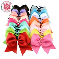 Wholesale Ponytail Holders For Bows - Wholesale- 20pcs lot 8 Inch Large Cheer Bow With Elastic Hair Band Cheerleading Boutique Ribbon Hair Bow Ponytail Hair Holder For Girls 598