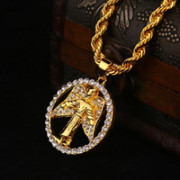 Wholesale Cubic Zirconia Hip Hop Pendants - New Arrivals Hip Hop 18K Gold Plated Wing Angel Round Pendant Necklace Full Crystal Fashion Jewelry Women for Men