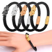 Wholesale Skeleton For Bracelets - U7 Punk Skeleton Genuine Leather Bracelet Gold Black Gun Plated Stainless Steel Jewelry for Men Women 19CM 21CM Perfect Couple Bangles