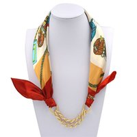 Wholesale Scarf Pendants Chain - Wholesale- Autumn Winter Women Lady's Chain Pendant Printing Satin Decorative Scarf