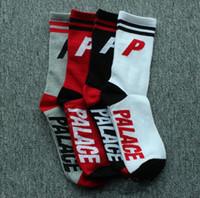 Wholesale Women Long Cotton Socks - PALACE Cotton Socks Sports Socks Men Women Basketball Football Skateboard Letter Hip-hop Long Socks 9 Styles OOA2329