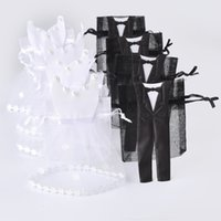Wholesale Tuxedo Wedding Gift Bags - Wholesale- 50 Sets Organza Drawstring Candy Bag 25* Tuxedo & 25* Dress Bride Groom Wedding Favors Party Gift Bag WB06