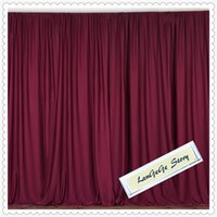 Wholesale polyester backdrop - Burgundy Ice Silk wedding backdrop 3m*3m banquet background 100% Polyester fabric Good Qualtity