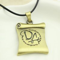 Wholesale Hp Books - Top Grade Classic Hp Necklace Antique Bronze Scroll Book Pendants Vintage Letter DA Symbol Rope Leather Necklace New