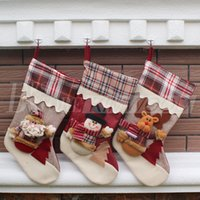Wholesale New Stocking Styles - 15 Styles New Arrival 2017 Christmas Stockings Decor Ornament Party Decorations Santa Christmas Stocking Candy Socks Bags Xmas Gifts Bag DHL