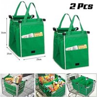 Wholesale Free Groceries - 2PCS lot Grab Bag Clip-To-Cart Grocery Shopping Bags Reusable Eco Foldable Shopping Bag Storage Baskets free EMS shipping