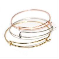 Wholesale Bracelet Charms For Kids - Silver Gold Tone Copper Expandable Wire Bangle Bracelet For Beading Or Charm Bracelets Bangle For Kids And Adults