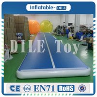 Wholesale air inflatables - Free Shipping 6x1x0.2m Blue Inflatable Gymnastics Mattress Gym Tumble Airtrack Floor Tumbling Air Track For Sale