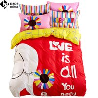 Wholesale Duvet Cover Elephant - Wholesale-elephant colorful flowers letters print red linens 100% cotton Twin Queen Size duvet cover+bedsheet+pillowcases sheets