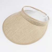 Wholesale Wholesale Golf Hat Clips - Fashion Linen Clip-On Empty Top Sun Visor Hat Summer Imitation Linen Cap Wide Brim Sun Protection Hats For Men And Women