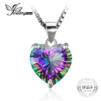 Wholesale Mystic Fire Topaz Jewelry - Wholesale- JewelryPalace 4ct Genuine Rainbow Fire Mystic Topazs Pendant Solid 925 Sterling Silver Vintage Jewelry Heart Pendant Brand New
