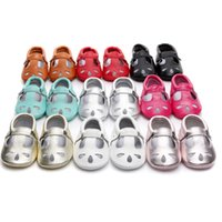 Wholesale baby white mary jane shoes online - Mary Jane styles for Spring and Summer Genuine Leather Moccasins baby girl Shoes Hallow T bar Newborn first walker toddler Shoes colors
