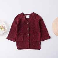 Wholesale Knitted Coat For Baby Girl - Everweekend Children Girls New Autumn Waistcost V-neck Flare Sleeves Knitted Coats for 2-7Y Baby Coats Jackets 4 Colors