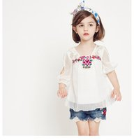 Wholesale Half Sleeve Chiffon Blouse - Summer Clothes White lace embroider Flower Girls Tops Blouses Children Shirts Best Short Sleeve T Shirts Toddler Shirt Infant Clothing A414