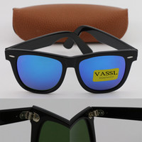 Wholesale Sports Flash Drives - Best quality Vassl Black Metal hinge Frame Blue Flash 54mm Designer Fashion Women Men Sunglasses UV400 Sport Vintage Sun glasses With box