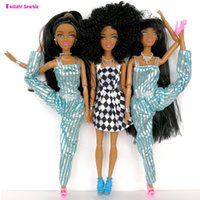 Wholesale Cheap Doll Hair - New cheap plastic Dolls Factory Direct selling Series Black Long hair special price Black skin high doll Wildcurl up Long legged