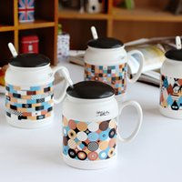 Wholesale Large Ceramic Coffee Mugs Lid - Bohemian Ceramic Mug With Spoon Multicolor Pattern Coffee Cup 2017 Fashion Drinkware Resistant High Temperature Large Capacity Breakfast Cup