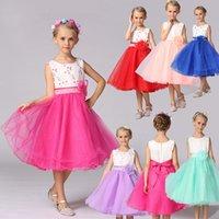 Wholesale Shorter Wedding Dresses For Boat - Baby 2017 Flower Children's Girl Costumes For kids Princess Party Wedding Dresses Girls Clothes Teen Girl Evening Dress