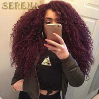 Wholesale Dark Red Human Hair Extensions - burgundy brazilian kinky curly virgin hair 3pcs ombre brazilian hair weave bundles 99j dark wine red afro kinky human hair extension