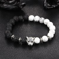 Wholesale Silver Men Bracelets China - Kittenup 2016 New White and Black Silver Plated Leopard Charm Stone Beads Bracelets For Men Lava Matte Fashion Jewelry