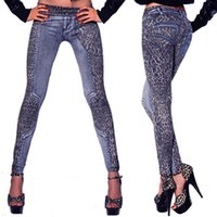 Wholesale- Mode Femmes Pantalons pour dames Leopard Slim Fit Pencil Jeans Casual Trousers