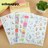 6 Fogli / set Coniglio Sticker Book Per Diario Scrapbook Calendario Notebook Label Mobile Phone Decoration neonata Giocattoli