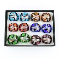 Wholesale Dichroic Rings - New Design Gold Sands Glass Rings Silver Foil Dichroic Glass Rings Made By Hand 12pcs box, MC1010