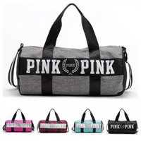 Wholesale Large Duffels For Women Travel - Sport Bags For Women Luxury Handbags Pink Letter Large Capacity Travel Duffle Striped Waterproof Beach Bag on Shoulder for Outdoor Business